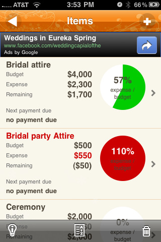 dreamday find cool wedding budget app for your iphone dreamday